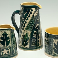 Annie Hewett - Green engraved jugs and mug
