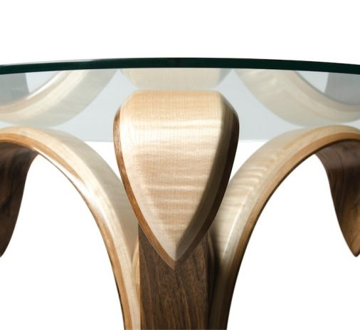 John Jacques - 'Blooming Lovely Flower Table No.2' - Walnut, Ripple Sycamore, Burr Oak, Glass