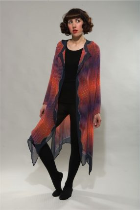 """Bright Feather"" Long Cardigan with raglan sleeves Dyes on Silk Georgette"