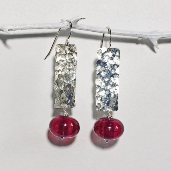 UAP - earrings, pink hollow glass beads 10.20