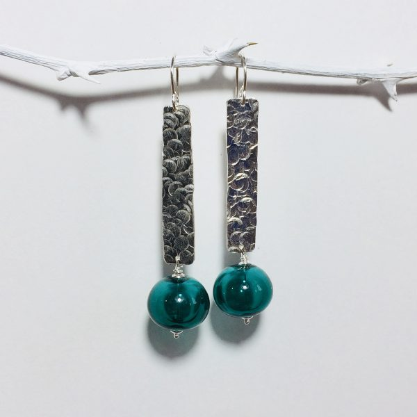 UAP - earrings teal hollow glass beads 10.20