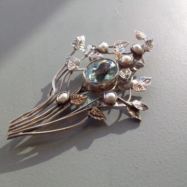 Brooch, silver with aquamarine by Helen Newman