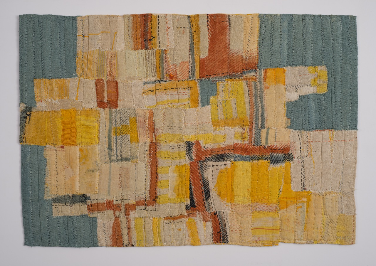 'Mead Cloth' Paint and linen thread on hand stitched constructed cotton cloth. 70 x 47cm 1